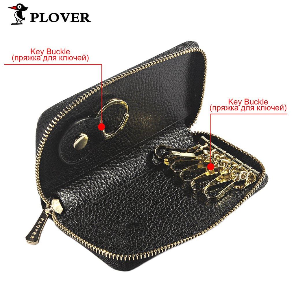 PLOVER GD5264-YA Men Women Solid Color Cow Leather Car Key Holder Case Bag