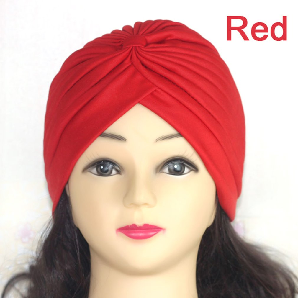 Men Women Indian Stretchable Pleated Turban Hat Elastic Headwrap Head Wrap Hijab Cap Comfortable Headband Wrap Bandana