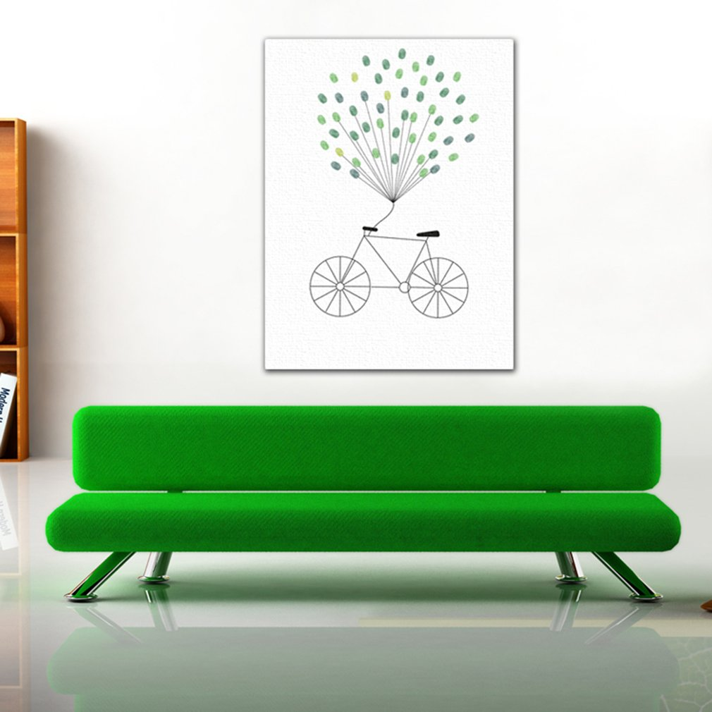 Bicycle Wedding Guest Book Personalized Wedding Gifts Fingerprint Painting