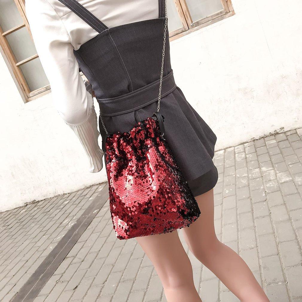 Stylish Crossbody Bag Bling-bling Sequins Mobile Phone Bag Fashion Chain Bag Popular Bucket Bag Woman Girl Trendy Shoulder Bag