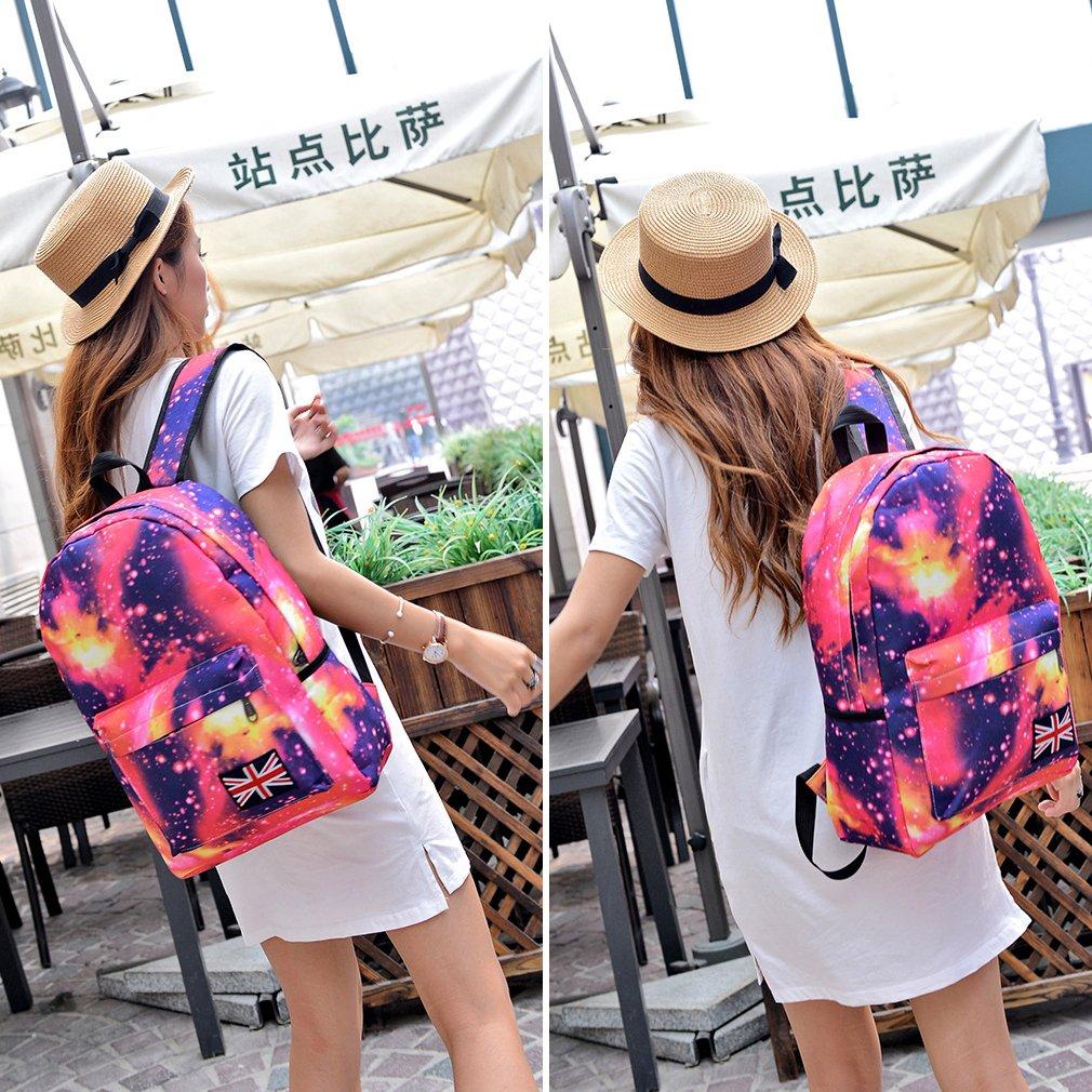 Unisex Girls Galaxy Space Backpack Travel Canvas Bag Rucksack School Bookbag