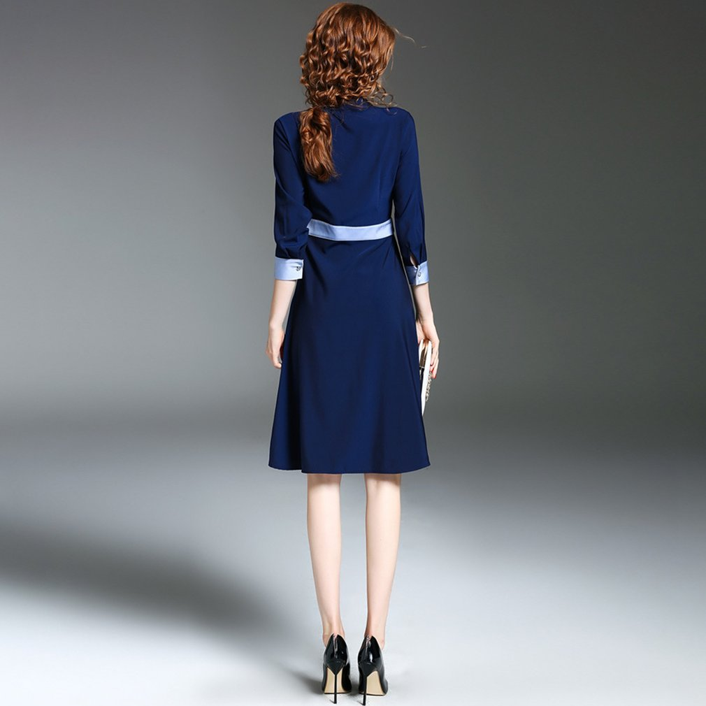OL Style Slimming Dress With Waist Belt Single Breasted Fashion Ladies Dress