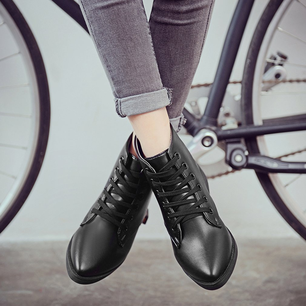 Fashionable Design Women Winter Soft PU Leather Pointed Toe Shoes Boots