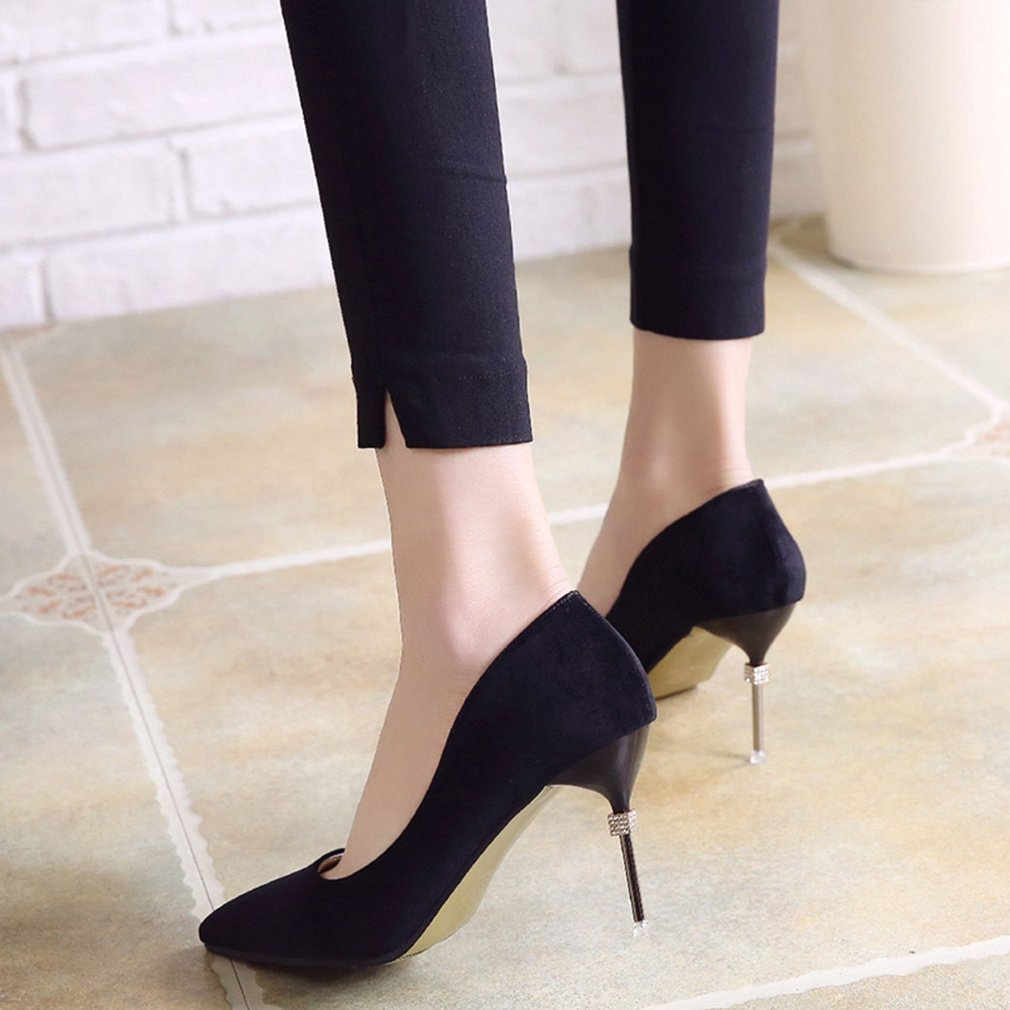 Spring Autumn Woman Shoes Fashion High Heels Shoes Solid Color Pointed Toe Thin Heeled Shoes Elegant OL Style