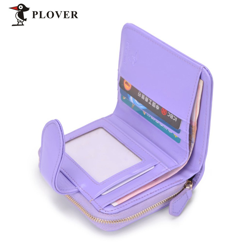 PLOVER GD5914-7NZ Solid Color Women Short Wallet Clutch Coin Purse With Zipper
