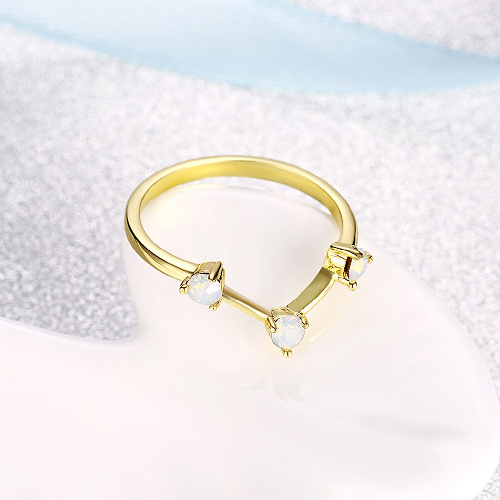 Women Trend Ring Geometric Shape Party Wedding Ring with Opal Decor