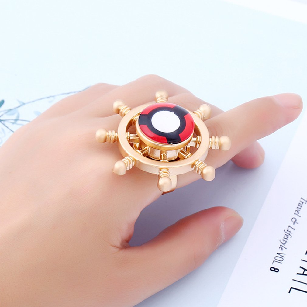 Women Spinning Top Ring Hand Decoration Jewel Unique Rudder-shaped Finger Ring