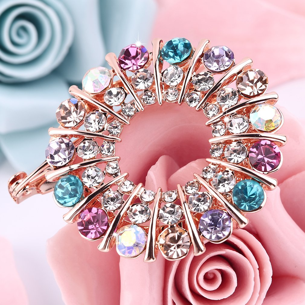 Bling Round Garland Crystal Brooch Pin Breastpin Wedding Party Jewelry Gift