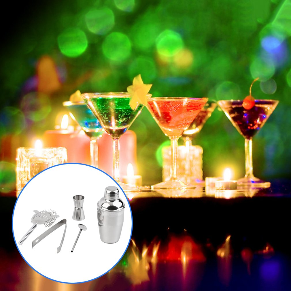 5Pcs 350ml Stainless Steel Cocktail Shaker Strainer Mixer Ice Tongs Pub Set