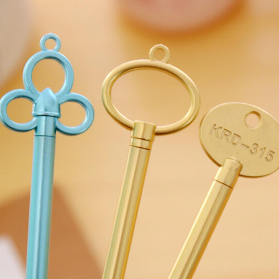 2Pcs Key Shape Ink Gel Pen Writing Marker Metallic Feel Office Stationery Gift