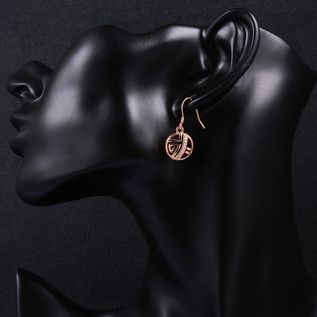 Woman Round Shape Rose Gold-Plating Fashionable Zircon Earrings for Gift