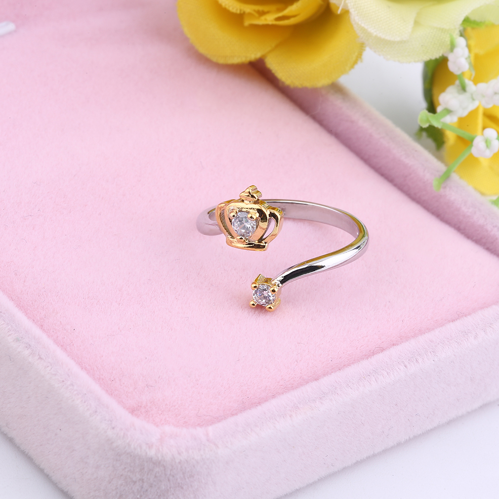 Opening Type Zircon Plated Rings Golden/Silver Fashion Jewelry Accessories