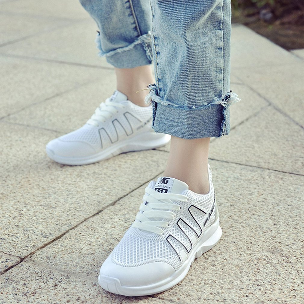 Korean Fashion Women Summer Breathable Sneakers Soft PU leather Running Shoes