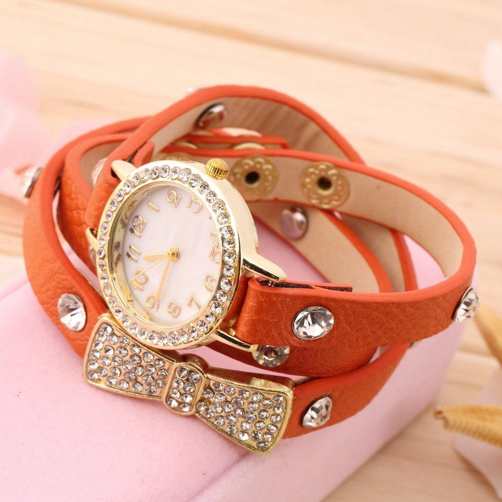 Fashion Women Crystal Bowknot 3 Layers Band Bracelet Quartz Analog Wrist Watch