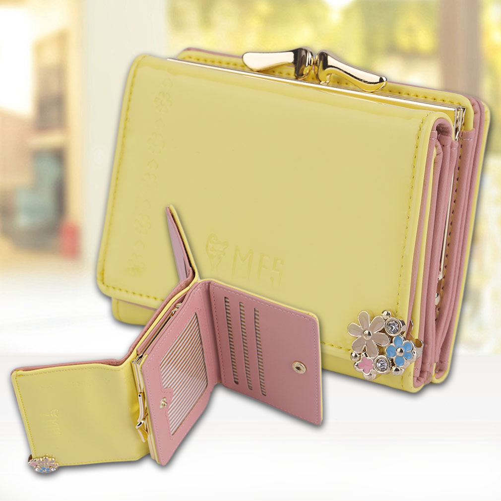 Lovely Lady Wallet Full Stereo Butterfly Knot Korean Fashion Leather Wallet