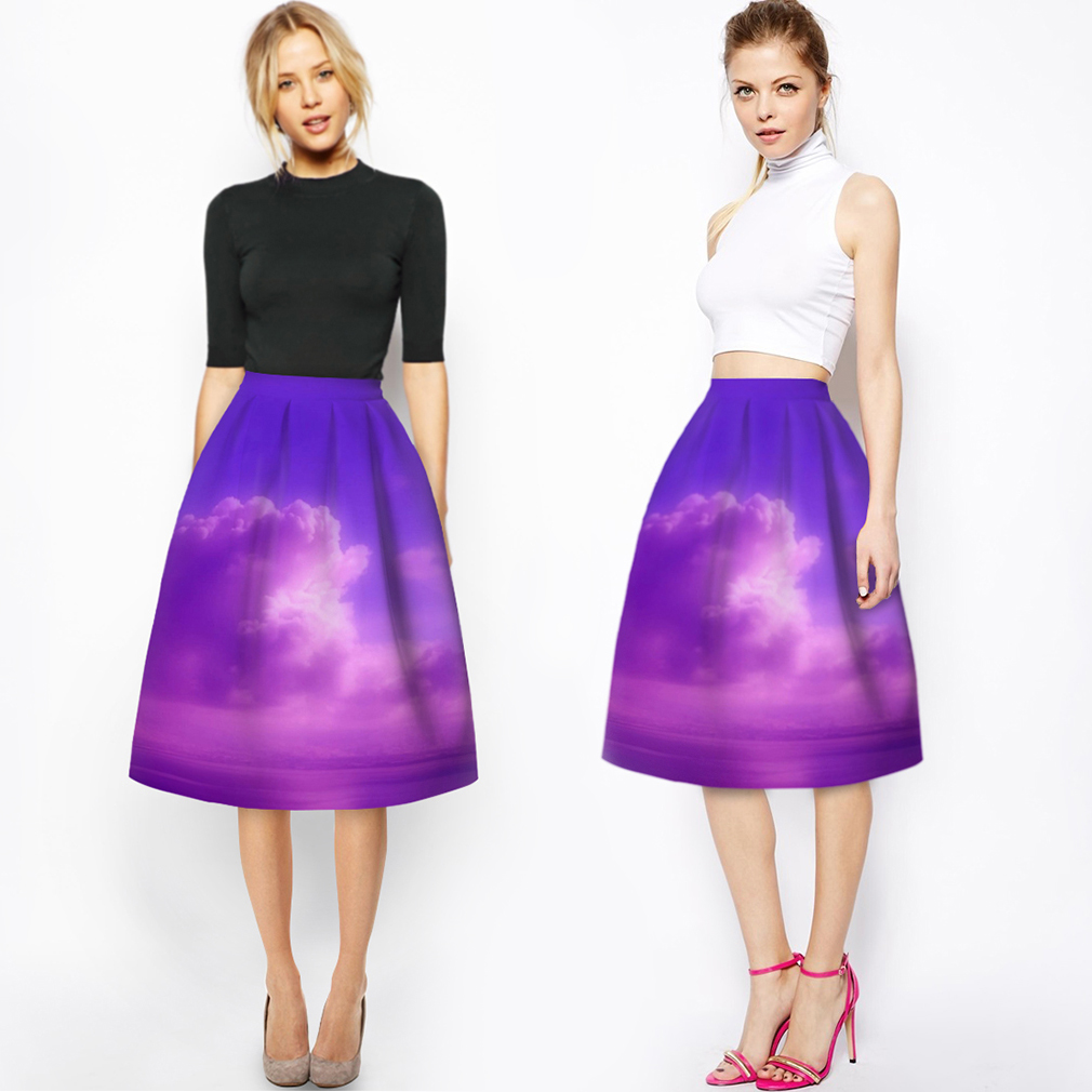 Women's Digital Printed Plaid Skirt