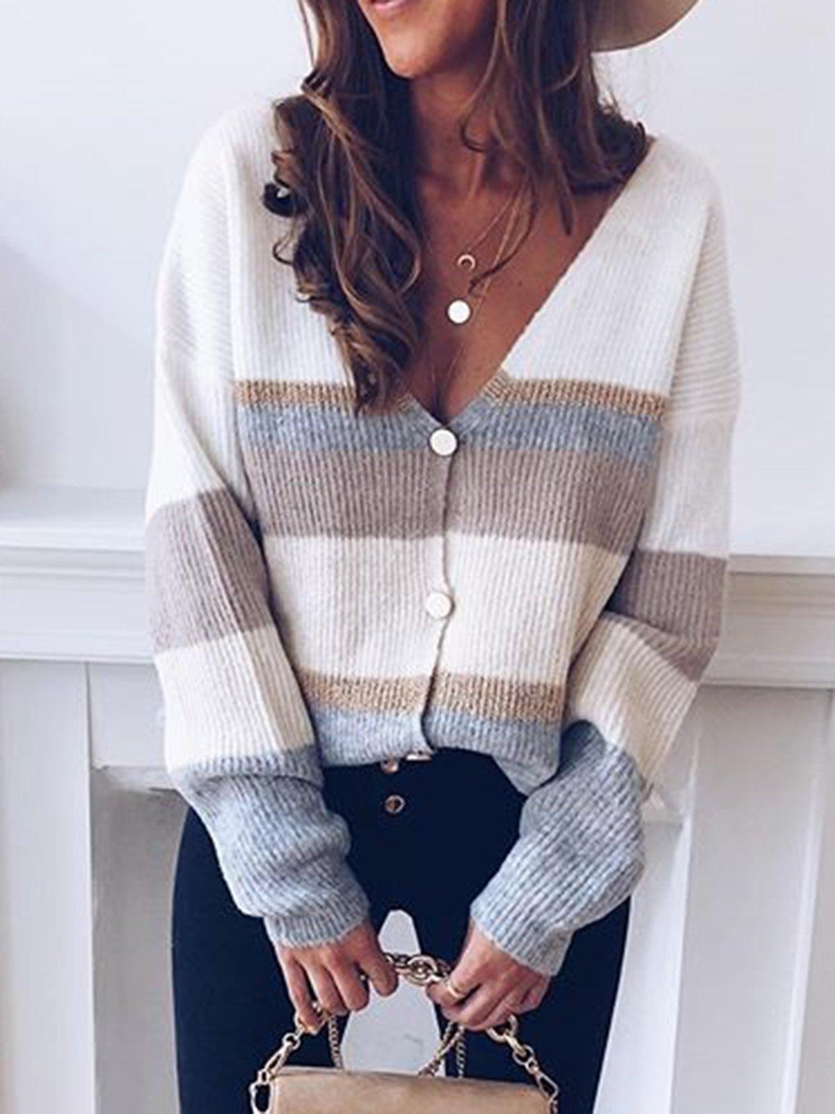 Long Sleeve V Neck Color-Block Sweater