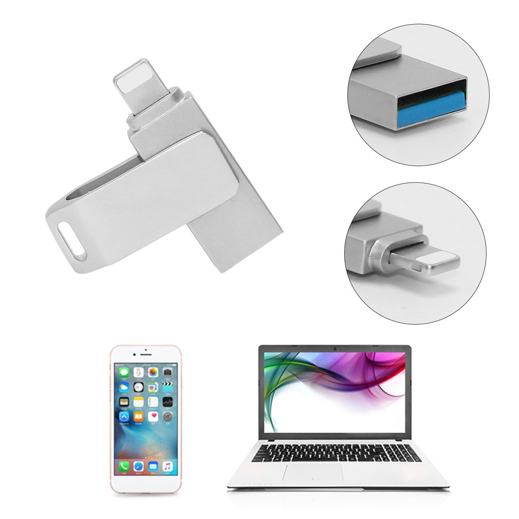 2-in-1 USB Flash Drive Memory Stick Rotatable Metal Pen Drive for iPhone PC