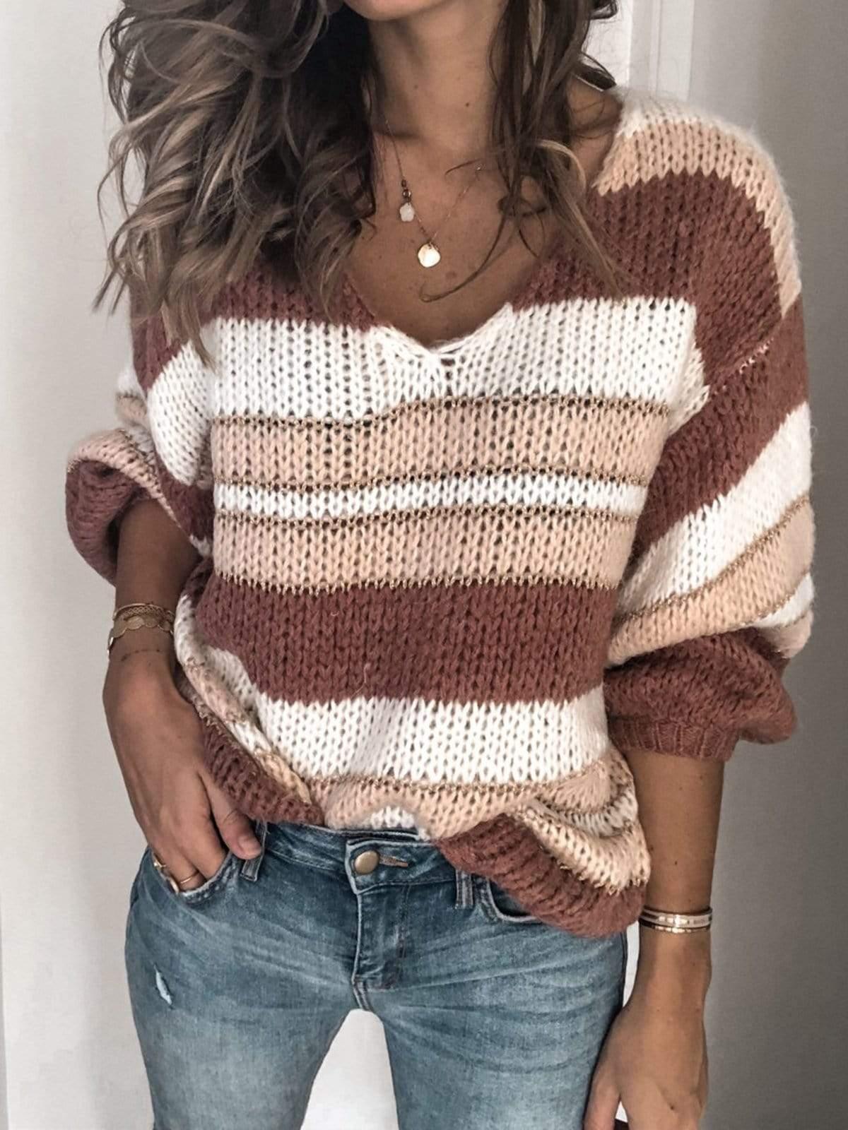 V Neck Color-Block Long Sleeve Sweater