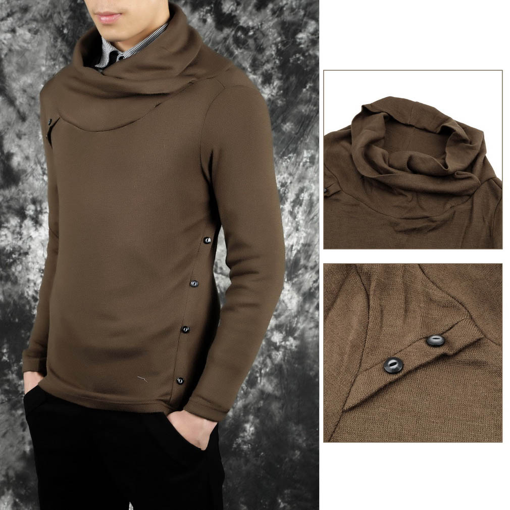 Fashion Men's Long Sleeve Casual Knitwear Knitted Sweater Turtleneck Sweaters