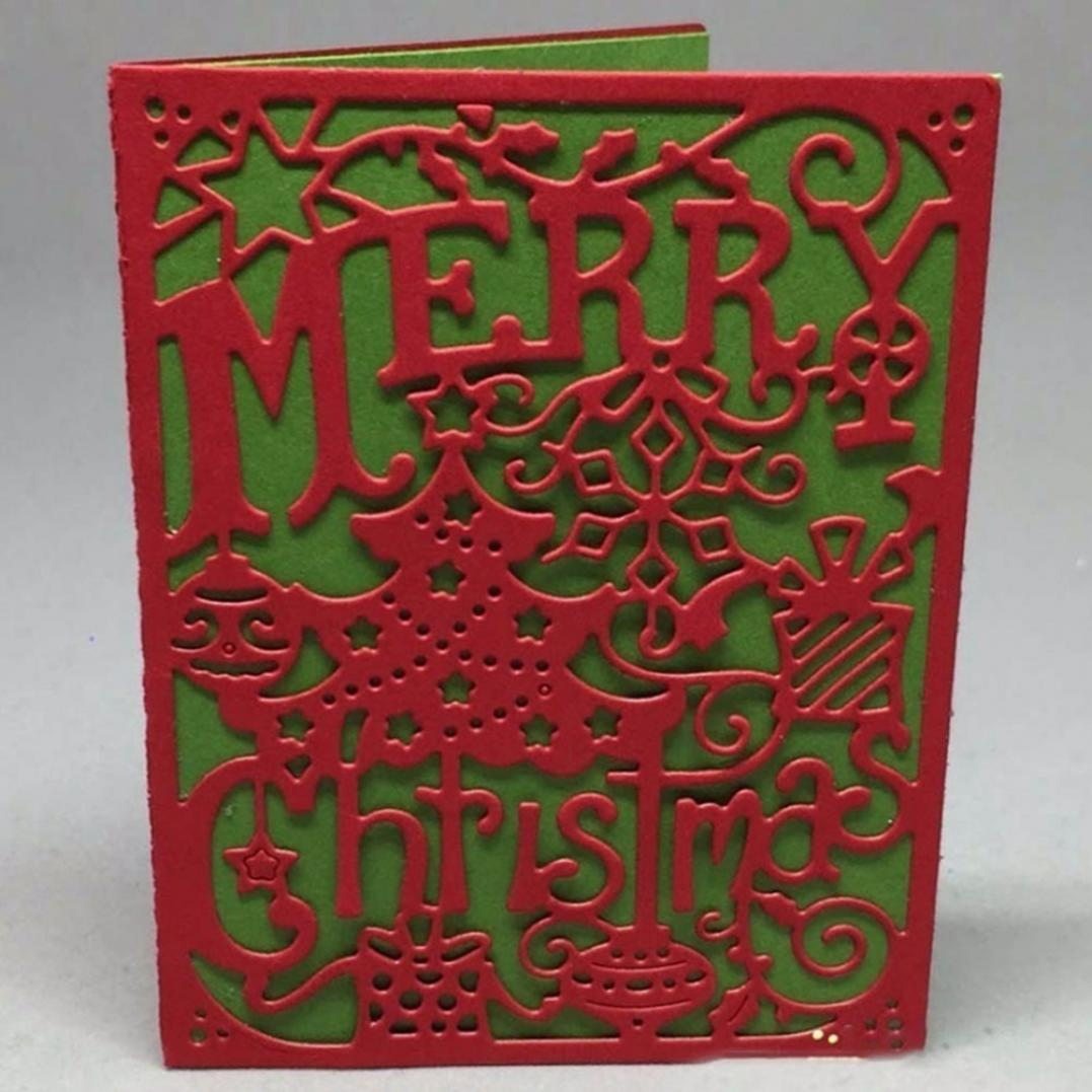 Merry Christmas Stitched Frame Cutting Die Scrapbooking Decor Embossing Stencil
