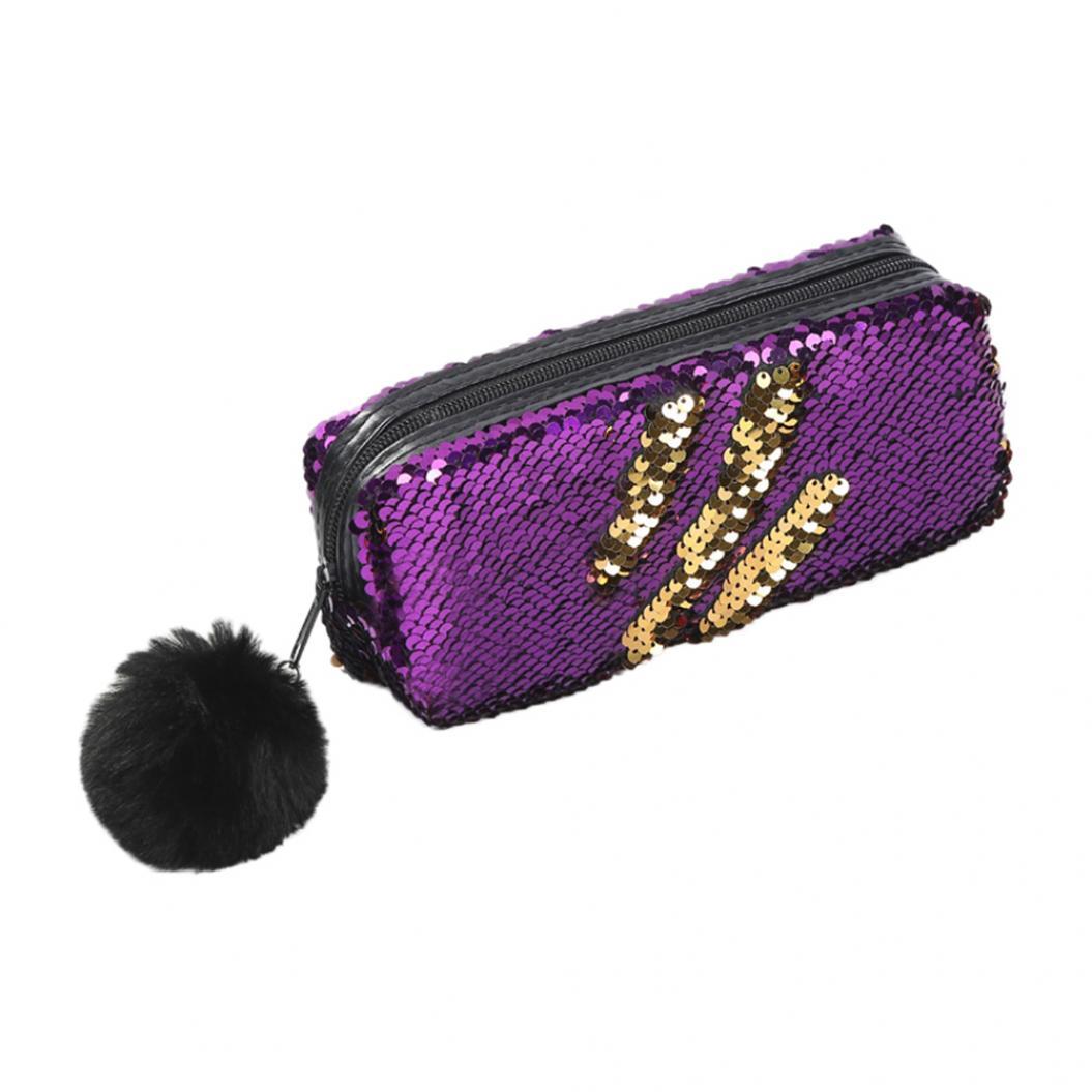 Shiny Reversible Sequins Pencil Box Pen Case Fluffy Ball Organizer Zipper Bag