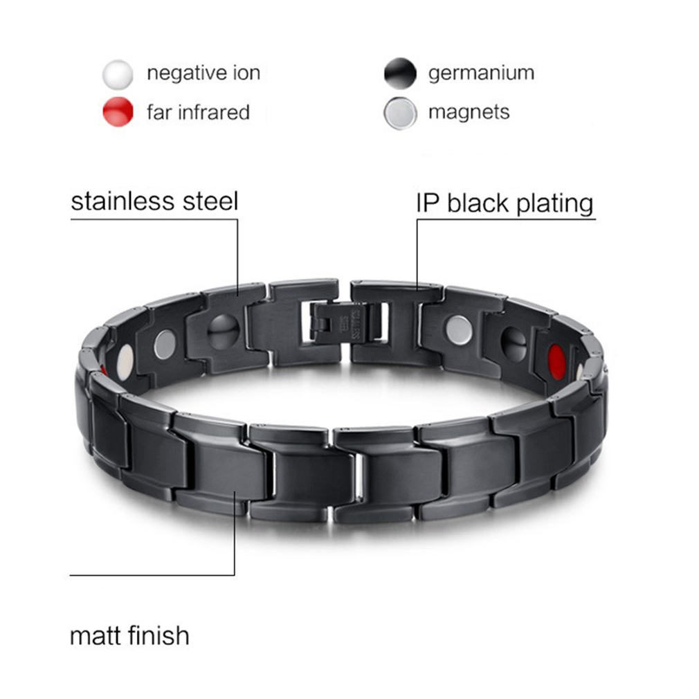 Fashion Trendy Men Stainless Steel Body Health Care Magnetic Bracelet Jewelry