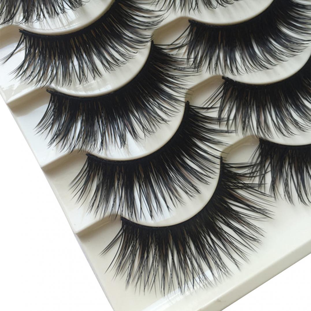 5 Pairs Fashion Long Thick Eye Lashes Fake Cross Eyelashes Beauty Makeup Tool