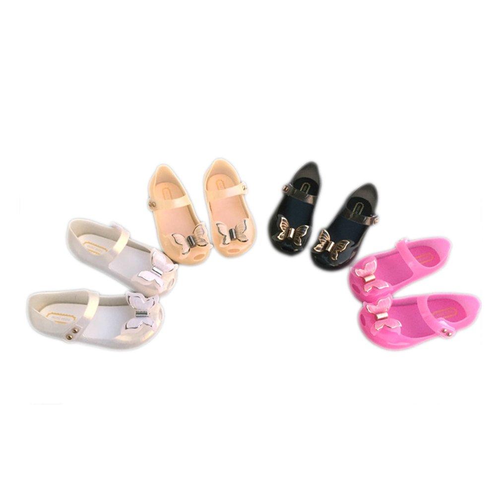 Colorful LED Light Girls Sandals Princess Bow Shoes PVC Flash Toddler Shoes