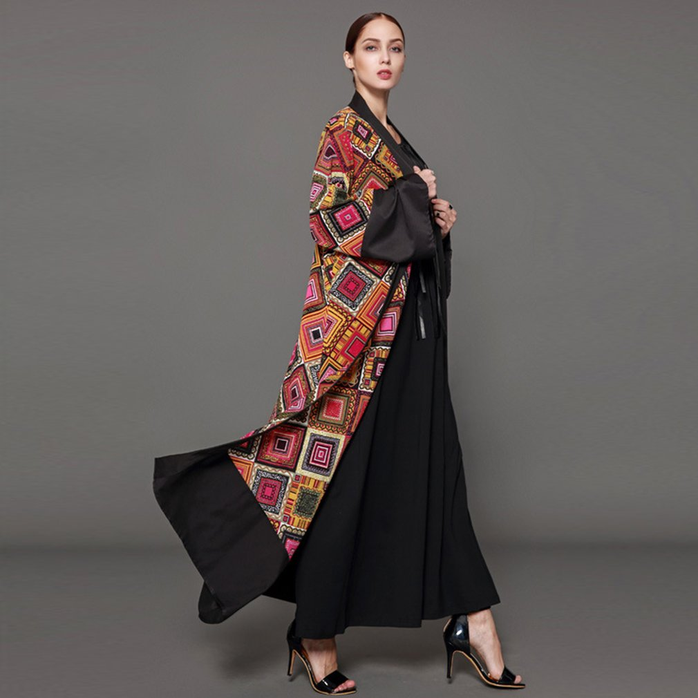 Vintage Printed Dress Mix Color Cardigan Muslim Abaya Dress Long Robes Comfortable Long Sleeved Arabic Dubai Women Clothing