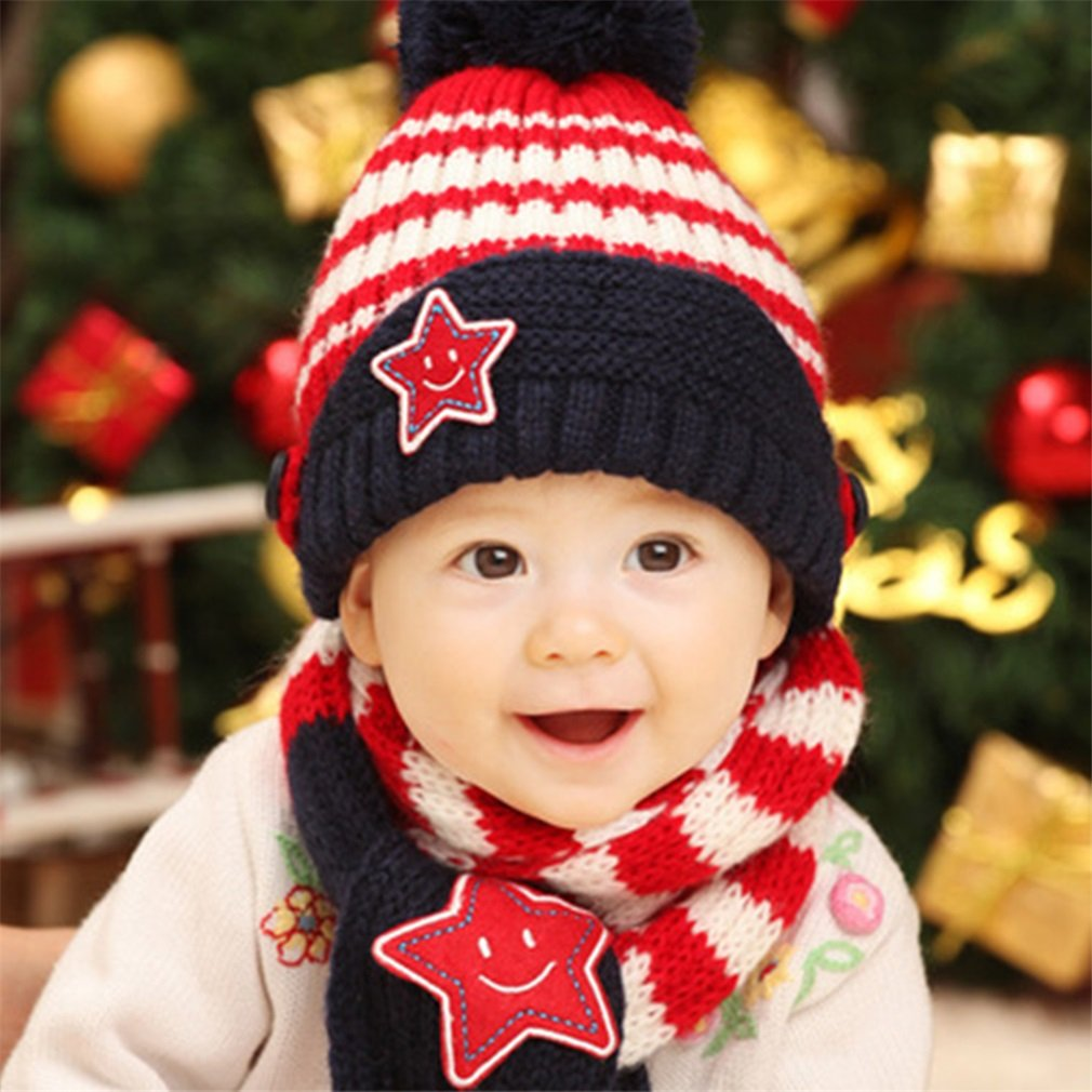 Baby Winter Warm Girls Boys Knit Cap Kids Hats Scarf Set Five-Pointed Stars