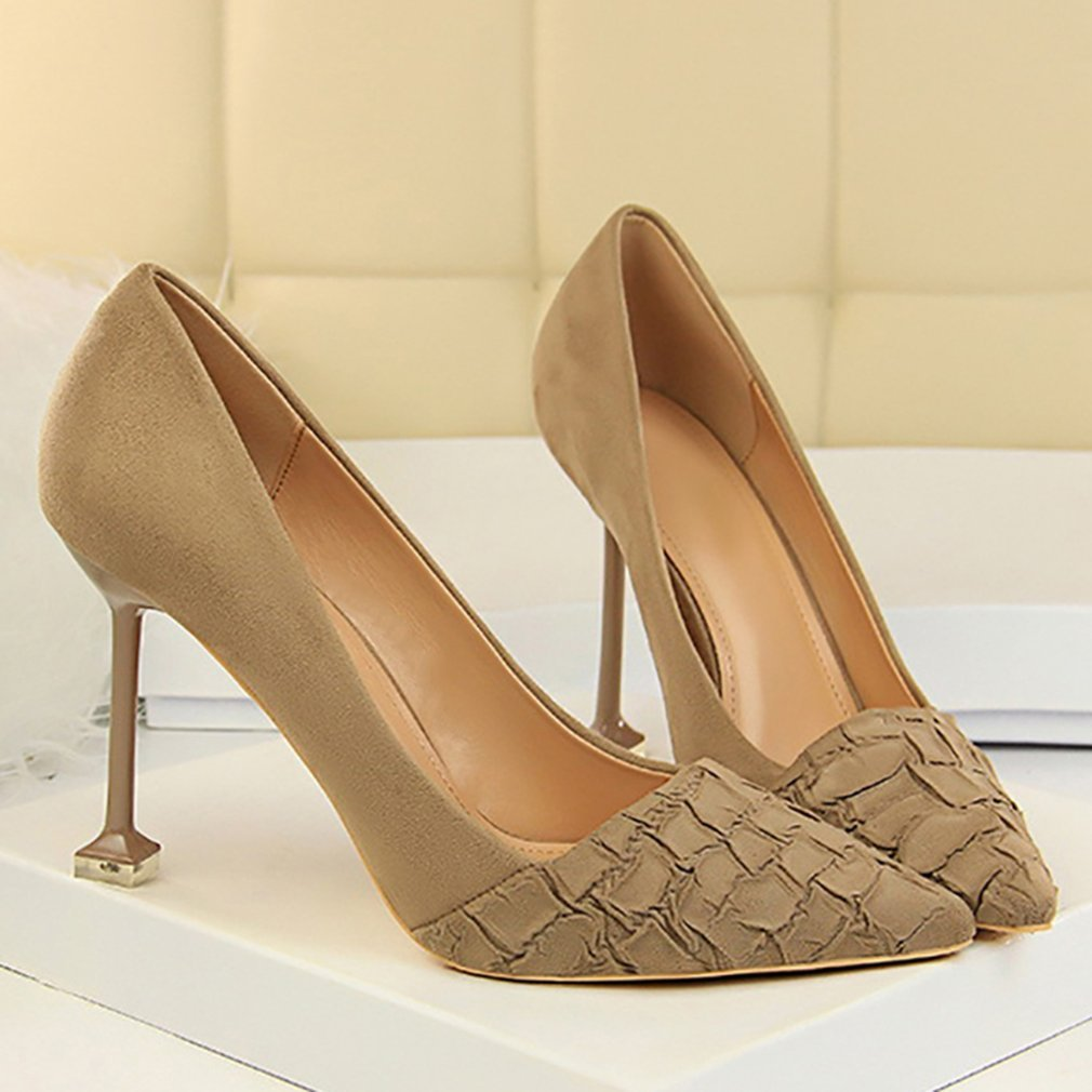 Suede Upper Women High Heels Shoes 9.5CM Stone Pattern Women Shoes Sexy Pointed Toe Pub Shoes Exquisite Party Shoes