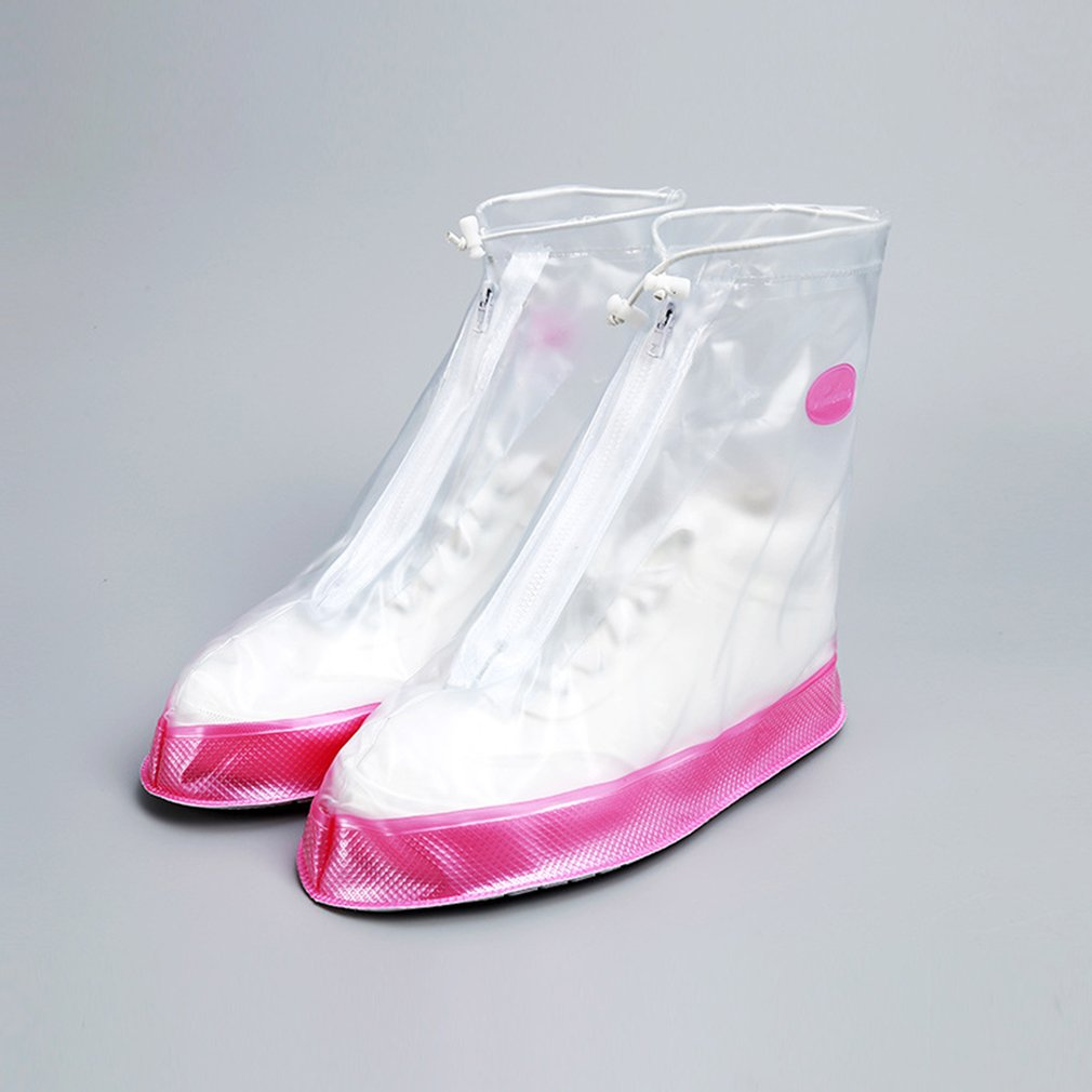 Waterproof Rain Shoe Covers Thicken PVC Shoes Protector Zipper Closure Anti-skid Boot Covers Reusable Overshoes Accessories