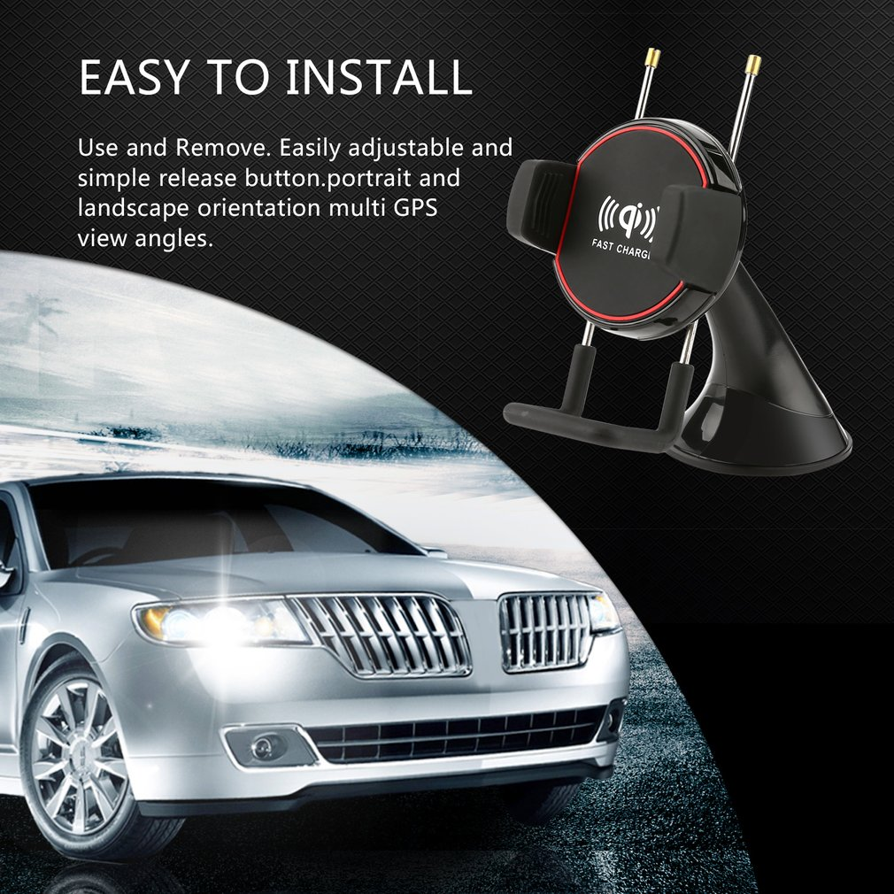 Car Windscreen Phone Holder Fast Wireless Charger Bracket with Suction Cup
