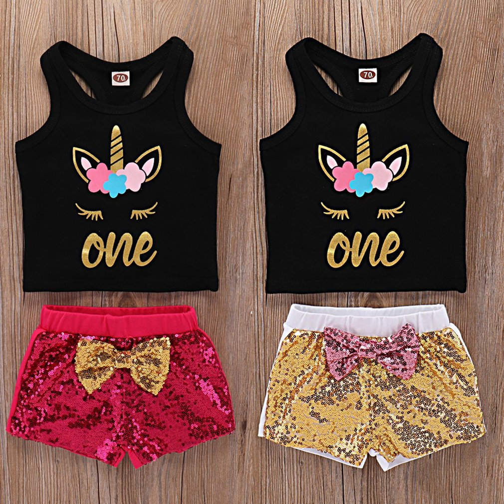 Lovely Toddler Clothes Outfits Comfortable Sequins Kids Shorts Suits