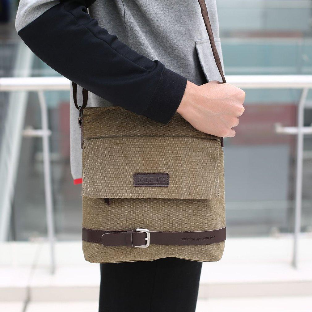 Men Vintage Canvas Messenger Bags Multifunction Shoulder Bags Vintage Crossbody Bag Casual Travel Handbags with Flap Pocket