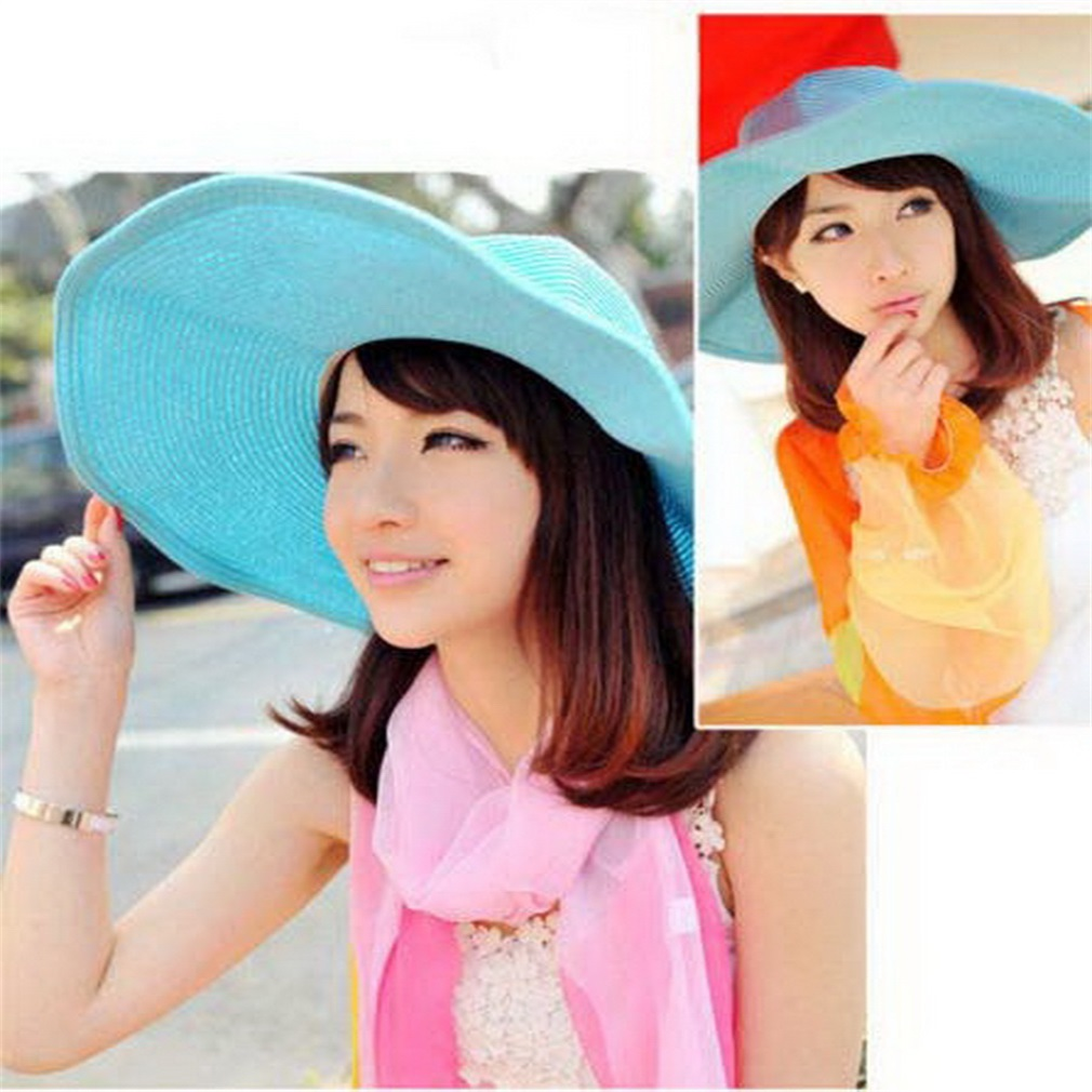 Fashion Women Girl Floppy Derby Hat Wide Large Brim Summer Beach Straw Sun Hat