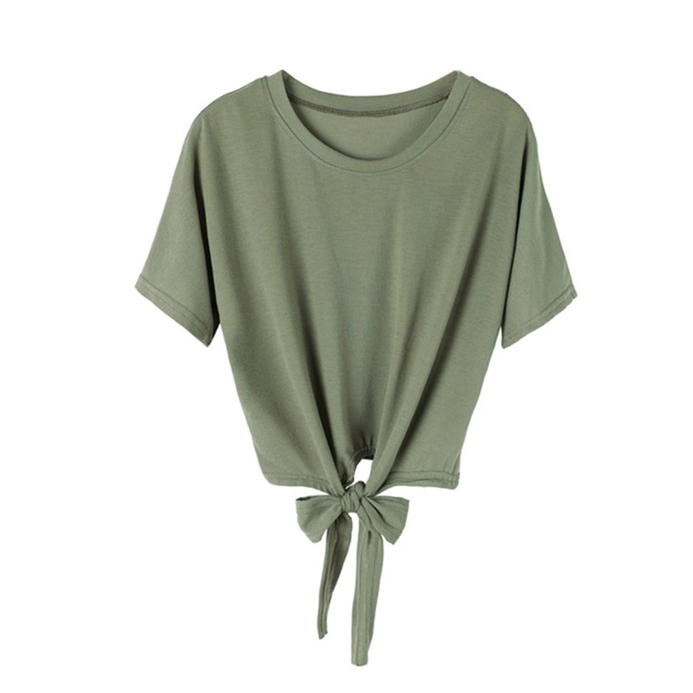 Comfortable Women Short Sleeve T-Shirt Casual Ladies Tie Knot Design O Neck Shirt Tops for Party Night Club