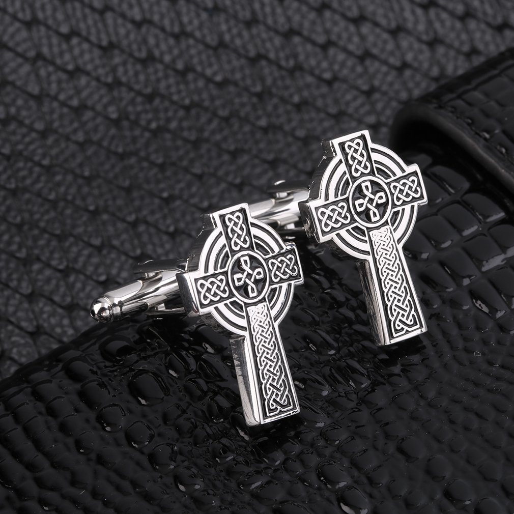 Men's Stainless Steel Cufflinks Vintage Cross Shape Silver Wedding Gift