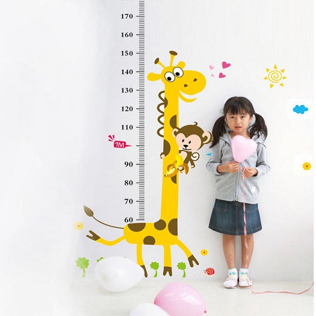 Kids Height Growth Chart Cartoon Giraffe Monkey Wall Sticker Room Decor