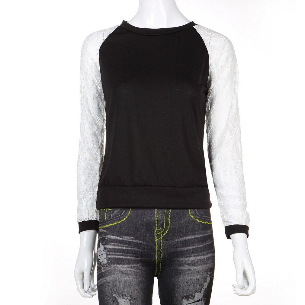 Women Lace Crochet Long Sleeve O-neck Ladies T-Shirt Casual Blouse Tops