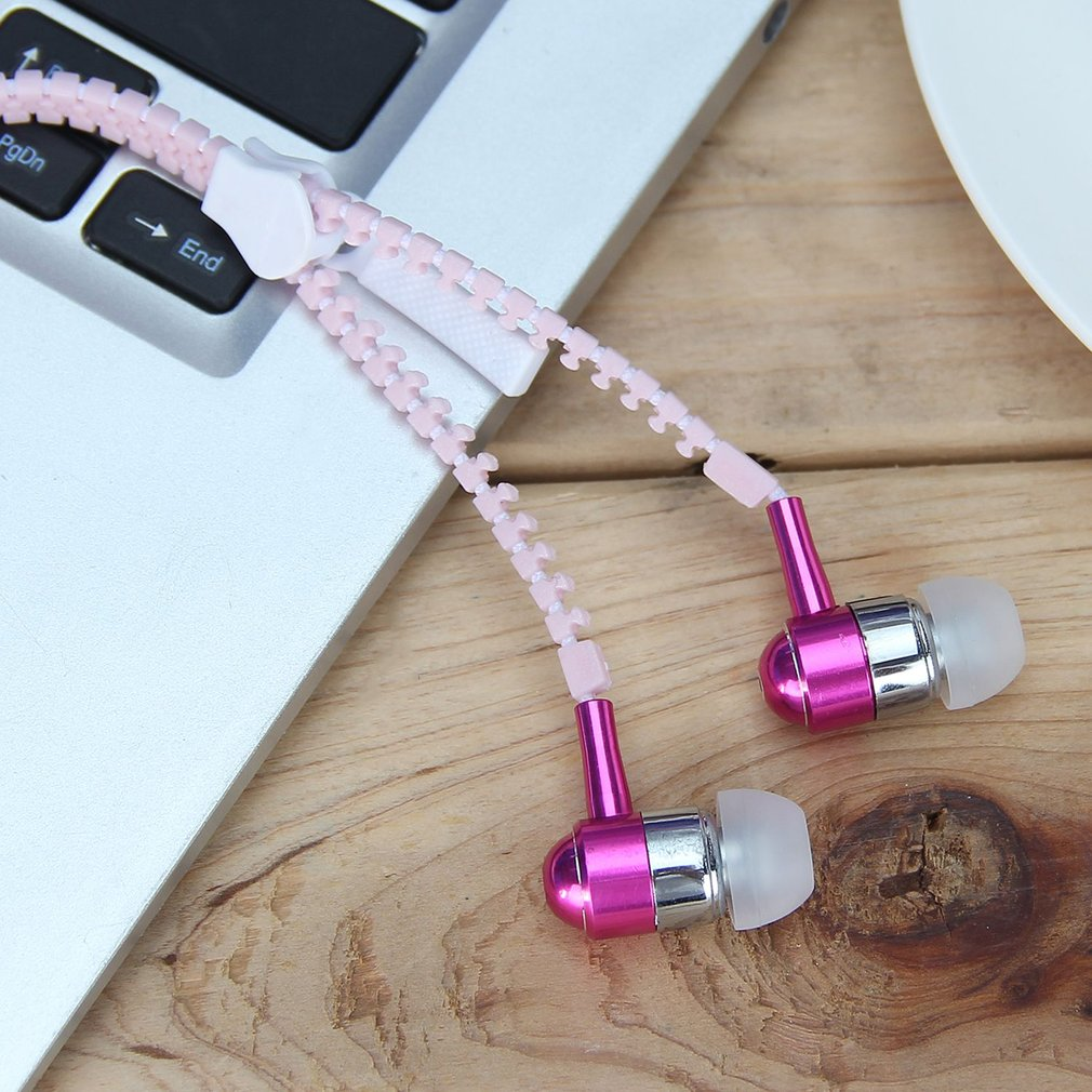In-Ear Earphones Sport Earpieces Metal Zipper Glowing Headset Night Light