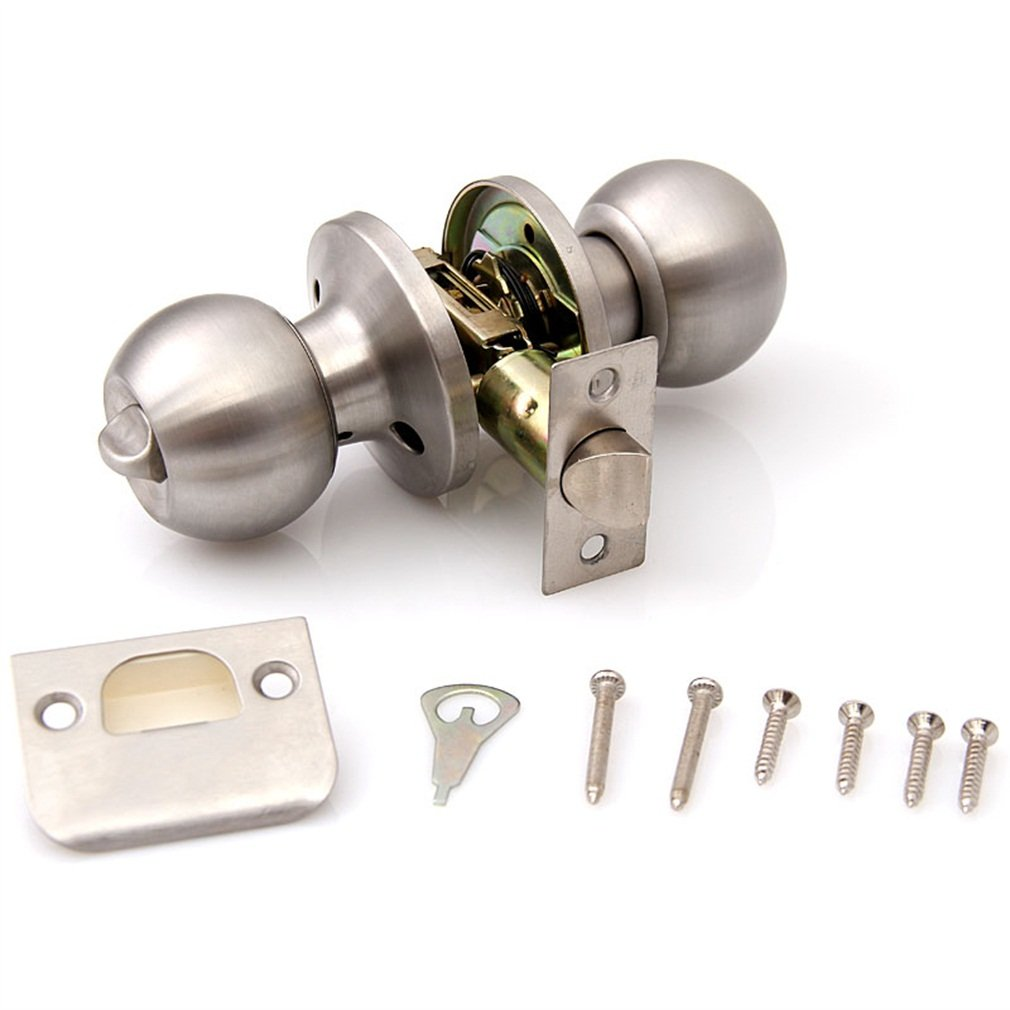 Brushed Chrome Stainless Steel Privacy Door Knobs Handles Lock Latch