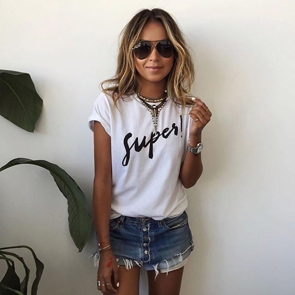 European American Fashion Women Summer Short Sleeve T-Shirt Fashion Letter Printed Ladies All Match Clothes O Neck Tops