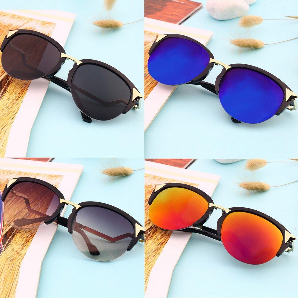 Triangle Rivet Half Frame Style Semi-Rimless Sunglasses Summer Cool Eyewear