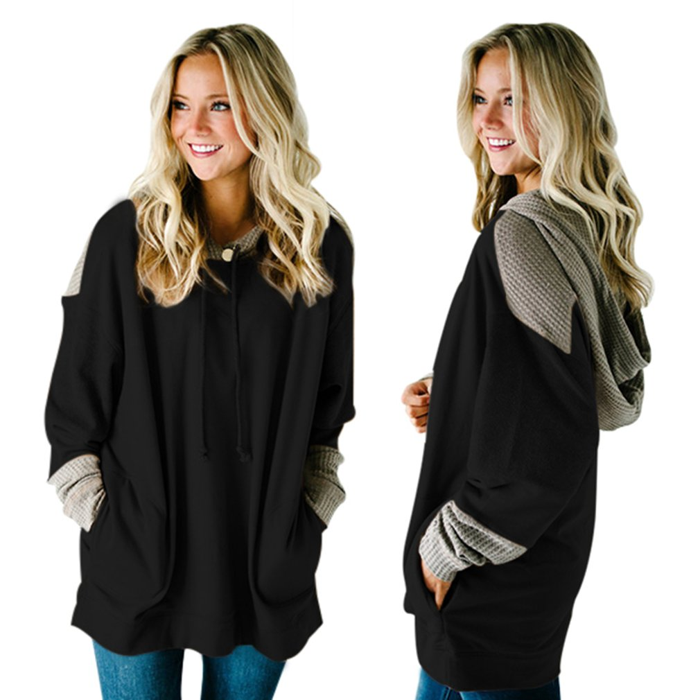 Long-sleeved Hooded Sweatshirt with Pockets & Knitting Details for Female