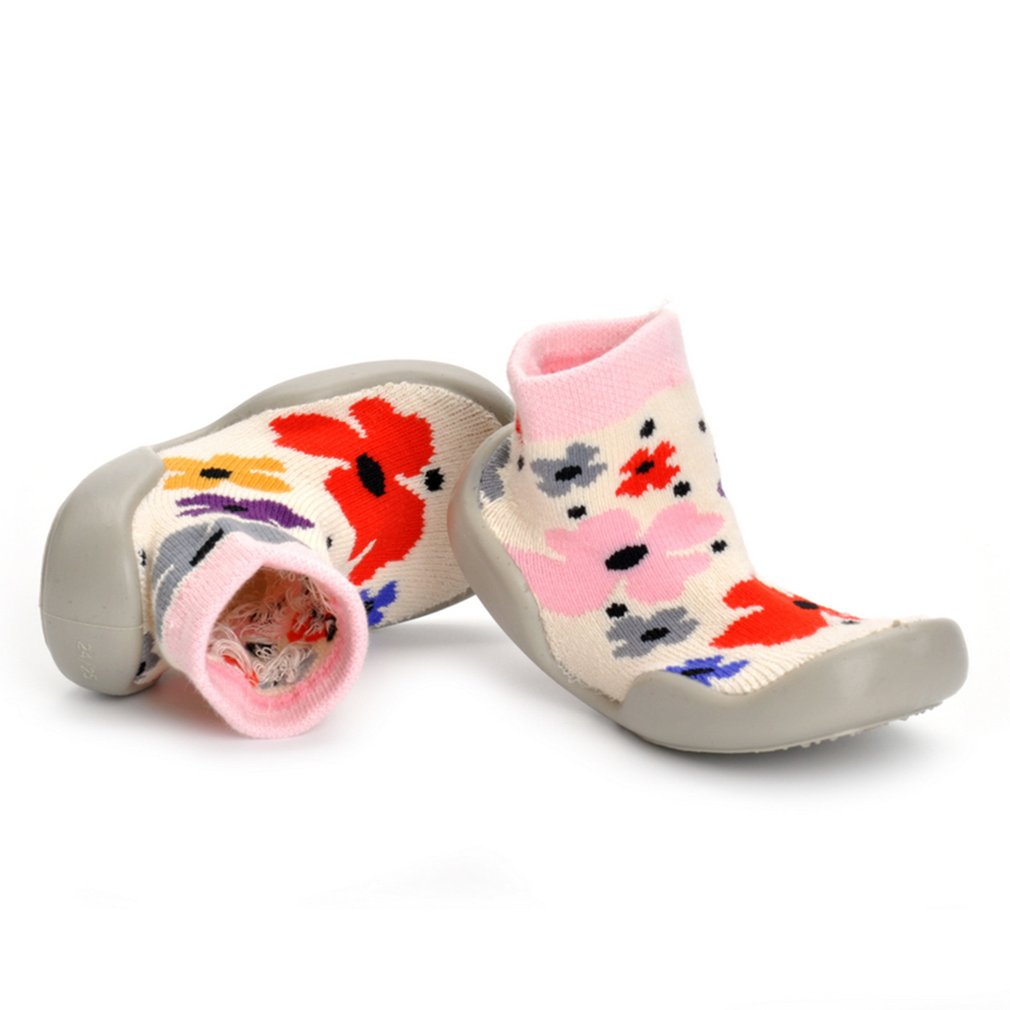 Baby Soft Soled Prewalker Unisex Sock-Like Cotton Shoes Sweet Floral Shoes