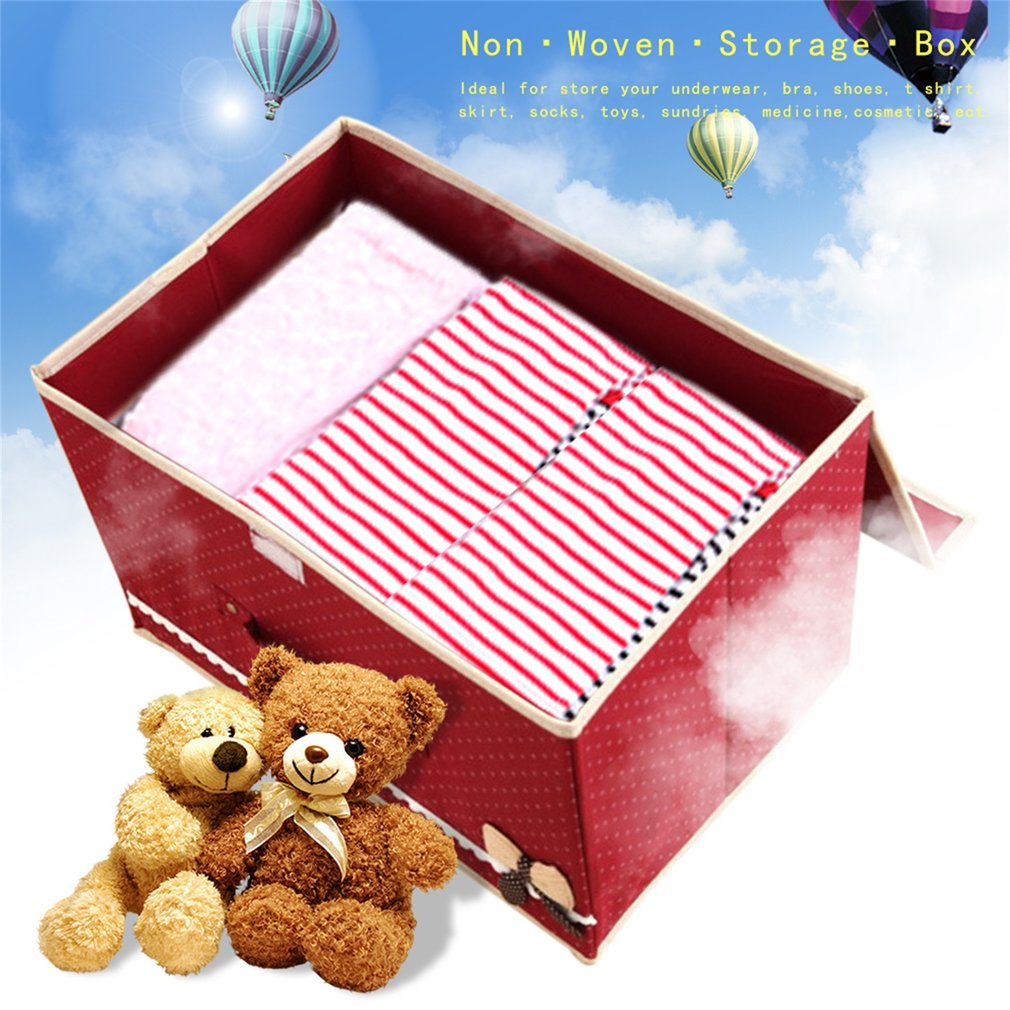 Bowknot Non Woven Fabric Storage Box Case Clothes Underwear Container Waterproof Toys Organizer Bins Home Cosmetic Box