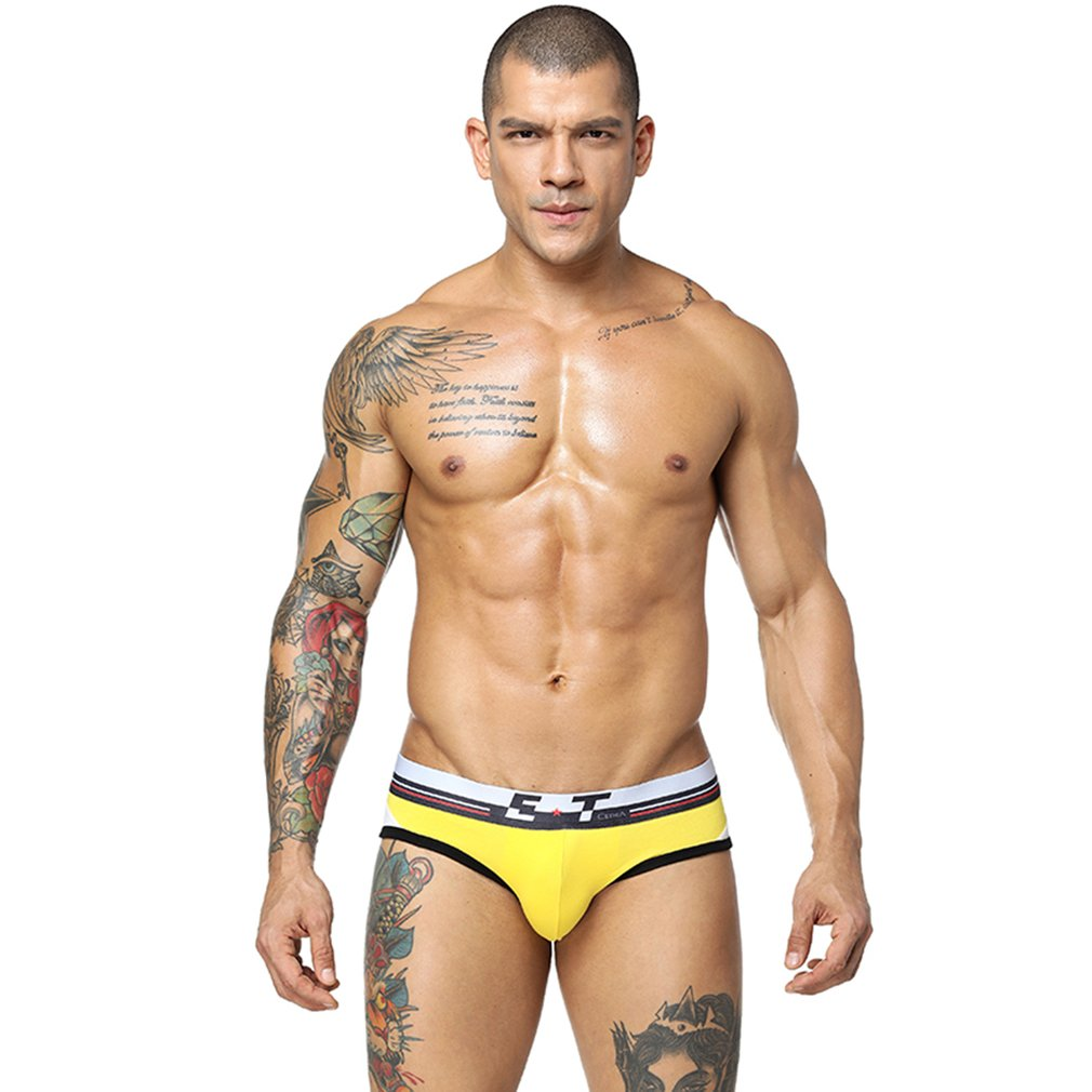 Sexy Breathable Men Brief Pure Natural Cotton Underpants Elastic Underwear