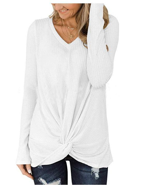 6 Colors Cross V-neck Long Sleeves Knitted Tops Sweater